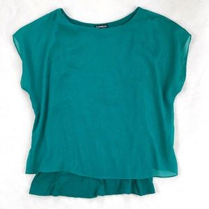 Express Sheer Teal Blouse with Built-In Tank